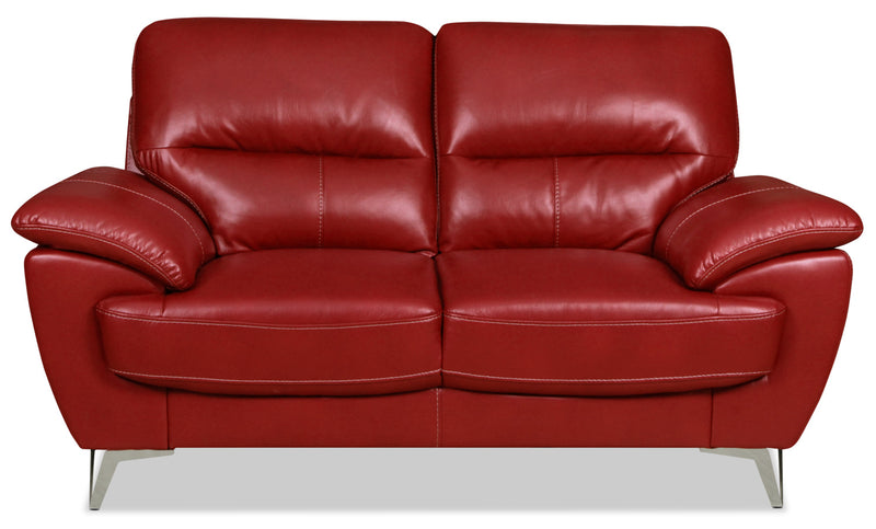 Olivia Leather-Look Fabric Loveseat – Red|Causeuse Olivia en tissu d'apparence cuir - rouge|OLIVRDLV