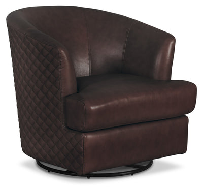 Leola Genuine Leather Accent Swivel Chair – Brown|Fauteuil d'appoint pivotant Leola en cuir 100 % véritable - brun|LEOLBNAC