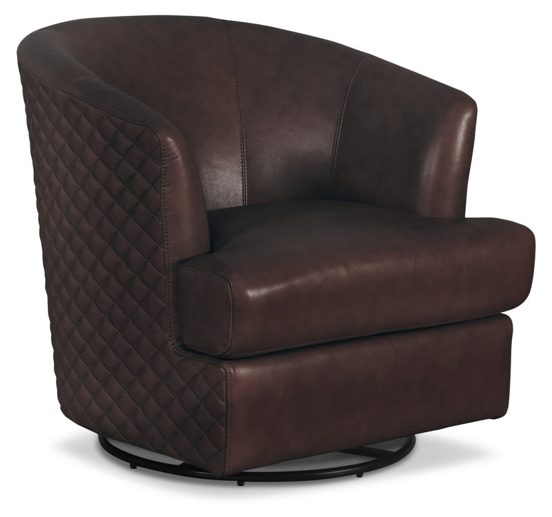 Leola 100% Genuine Leather Accent Swivel Chair – Brown|Fauteuil d'appoint pivotant Leola en cuir 100 % véritable - brun