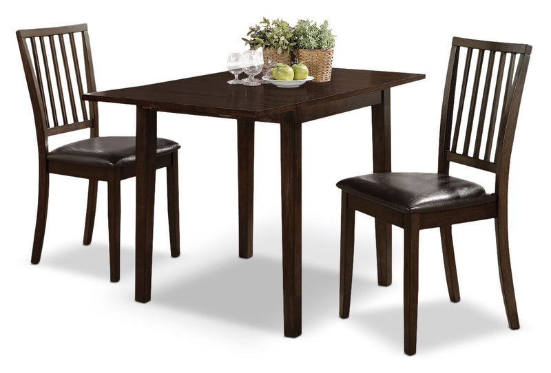 Dakota 3-Piece Square Table Dining Package - Contemporary style Dining Room Set in Dark Mango