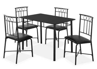 Monarch 5-Piece Bistro Dining Package – Black - Modern style Dining Room Set in Black Metal and MDF