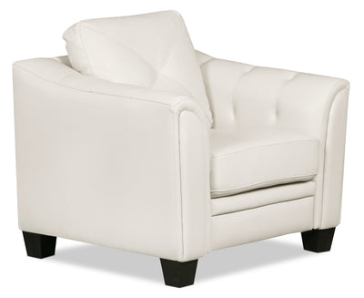 Andi Leather-Look Fabric Chair – Beige - Glam style Chair in Beige