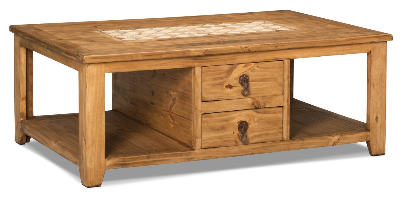 - Santa Fe Rusticos Solid Pine Coffee Table With Marble Inset The
