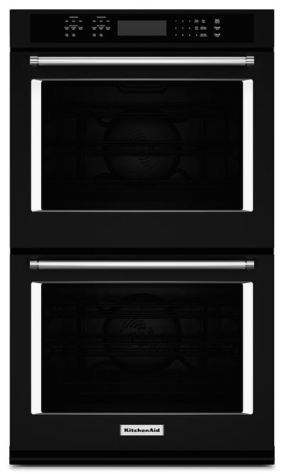 "KitchenAid 27"" Double Wall Oven with Even-Heat™ True Convection - Black - Double Wall Oven in Black"