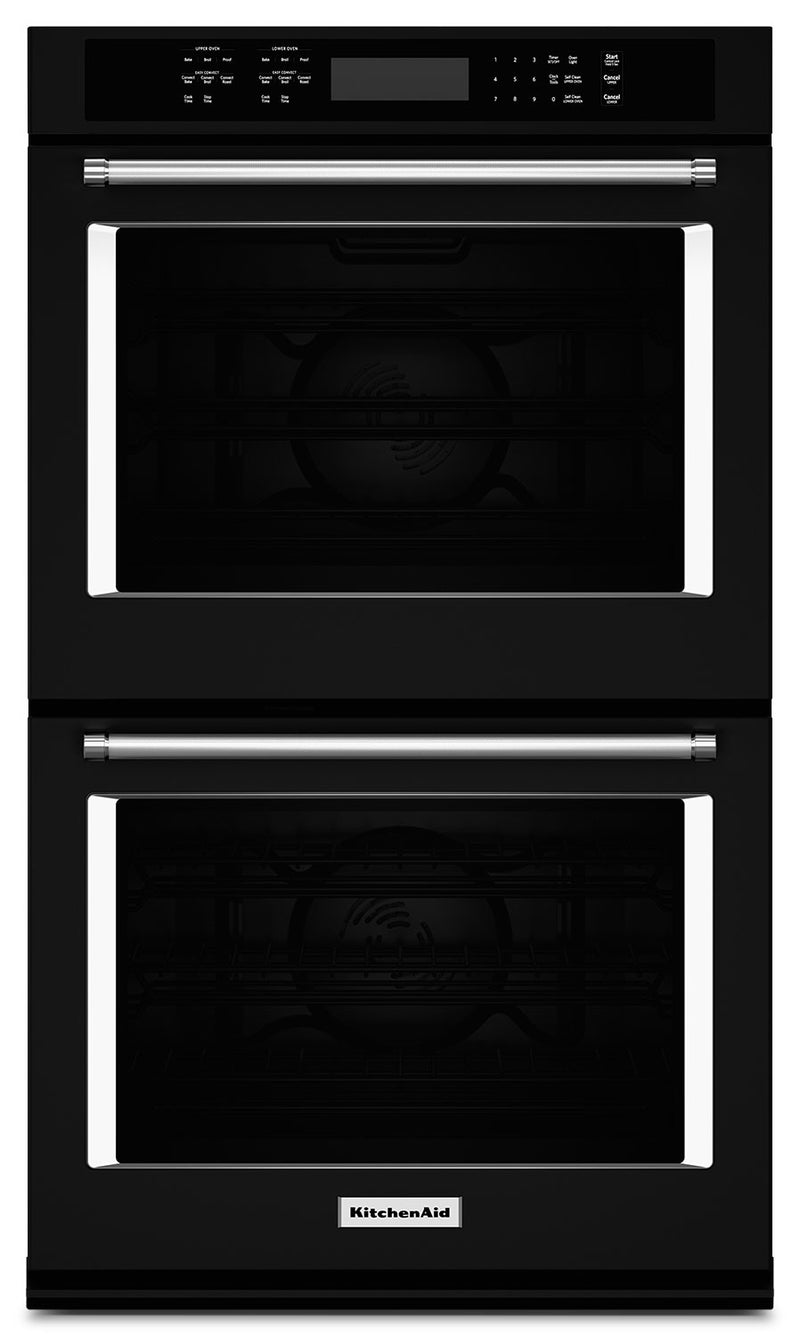 "KitchenAid 27"" Double Wall Oven with Even-Heat™ True Convection - Black