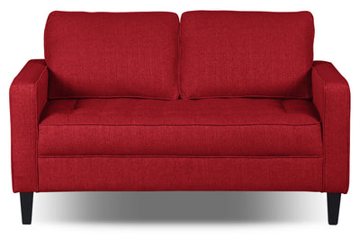 Paris Linen-Look Fabric Loveseat – Cherry|Causeuse Paris en tissu d'apparence lin - cerise|PARISCLV