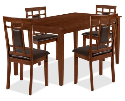 Aran 5-Piece Dining Package – Dark Walnut - Contemporary style Dining Room Set in Walnut MDF and Veneers
