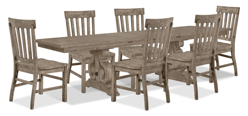 Keswick 7-Piece Dining Package – Dovetail Grey - Rustic style Dining Room Set in Grey Pine