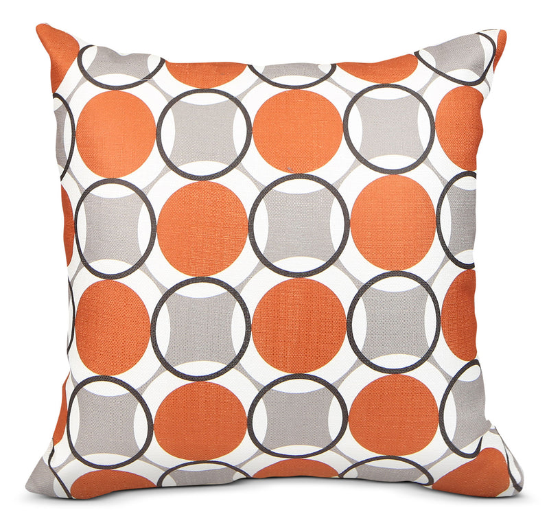 Kaleidoscope Accent Pillow – Grey, Orange and White|Coussin décoratif Kaleidoscope - gris, orange et blanc