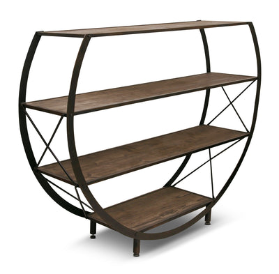 Santa Monica Circle Bookcase - Rustic style Bookcase in Espresso Wood
