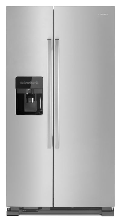 Amana 21 Cu. Ft. Side-By-Side Refrigerator with Dual Pad External Ice and Water Dispenser – ASI2175G - Refrigerator with Exterior Water/Ice Dispenser in Stainless Steel