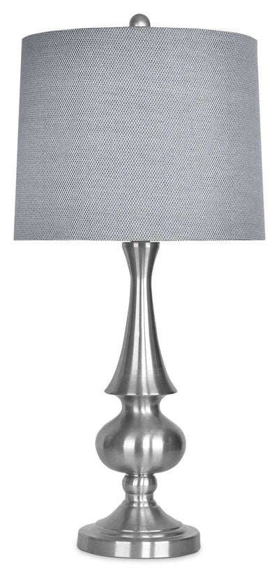 Brushed Nickel Table Lamp with Grey Metallic Shade|Lampe de table en nickel brossé avec abat-jour gris métallique|ST9105TL
