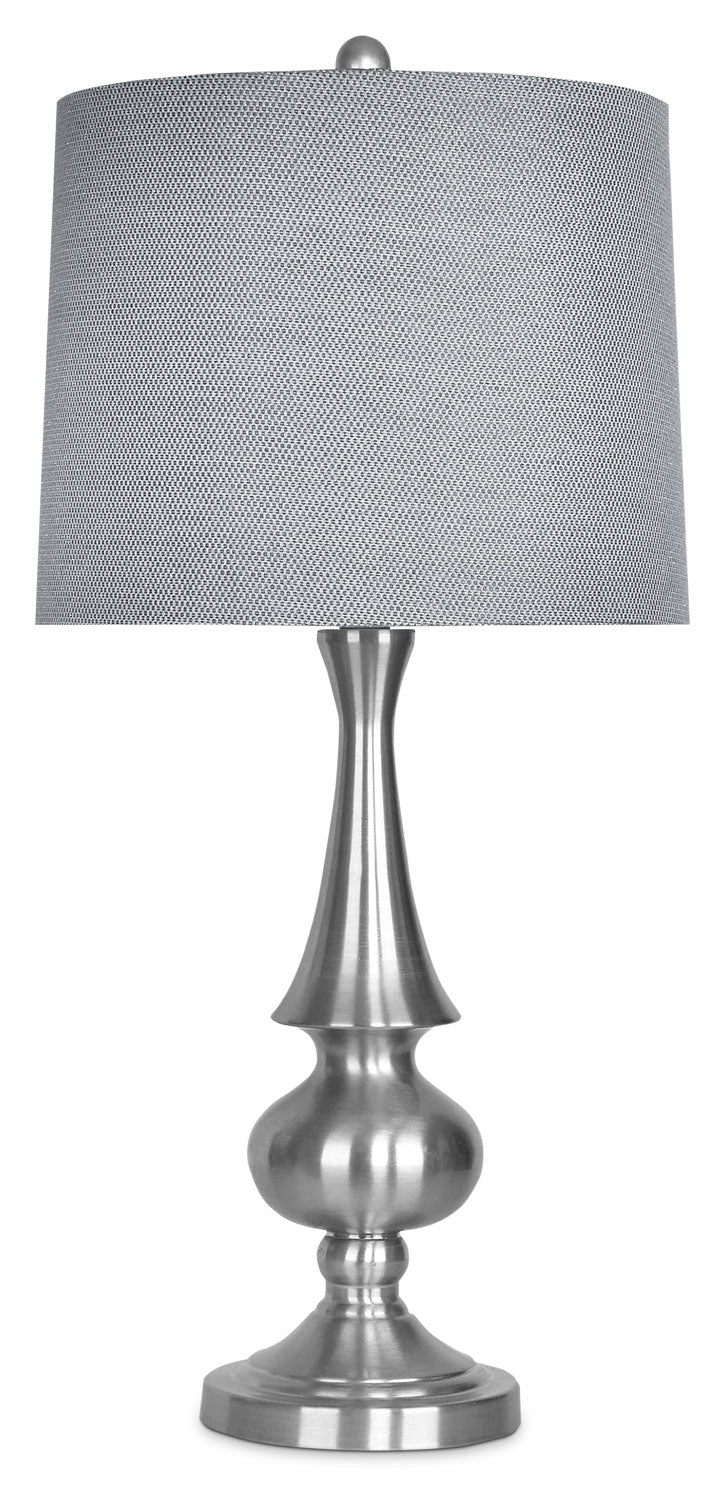 Brushed Nickel Table Lamp with Grey Metallic Shade|Lampe de table en nickel brossé avec abat-jour gris métallique