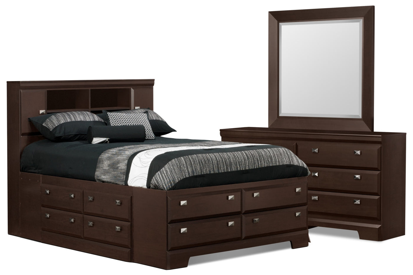 Yorkdale 5 Piece Full Bookcase Storage Bedroom Package
