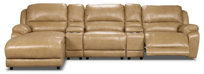 Marco Genuine Leather 5-Piece Sectional with Power Recliner and Console– Toffee - Contemporary style Sectional in Toffee