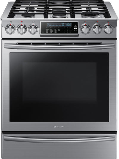 Samsung 5.8 Cu. Ft. Convection Slide-In Gas Range – NX58H9500WS/AC|Cuisinière à gaz encastrable Samsung de 5,8 pi³ à convection - NX58H9500WS/AC|NX58H9500