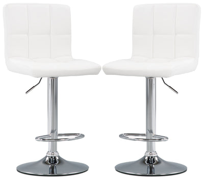 CorLiving High-Back Adjustable Bar Stool, Set of 2 – White - Modern style Bar Stool in White Steel and Faux Leather