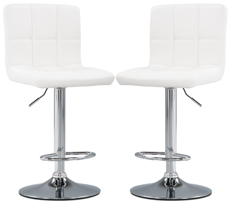 CorLiving High-Back Adjustable Bar Stool, Set of 2 – White|Tabouret bar réglable CorLiving à dossier haut, ensemble de 2 - blanc