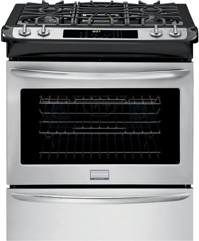 "Fridigaire Premier Gallery 30"" Slide-In Gas Range – Stainless Steel - Gas Range in Stainless Steel"