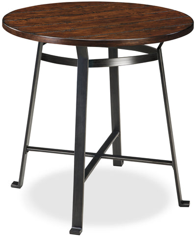 Challiman Pub Table - Industrial style Dining Table in Pewter Pine Solids and Metal
