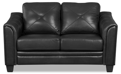 Andi Leather-Look Fabric Loveseat – Black - Glam style Loveseat in Black