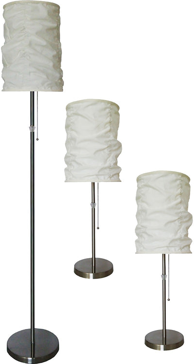 Brushed-Steel 3-Piece Floor and Two Table Lamps Set with Wrinkled Shade|Ensemble 3 pièces, 1 lampe à pied et 2 lampes de table, en acier brossé avec abat-jour plissé|9322BBPK