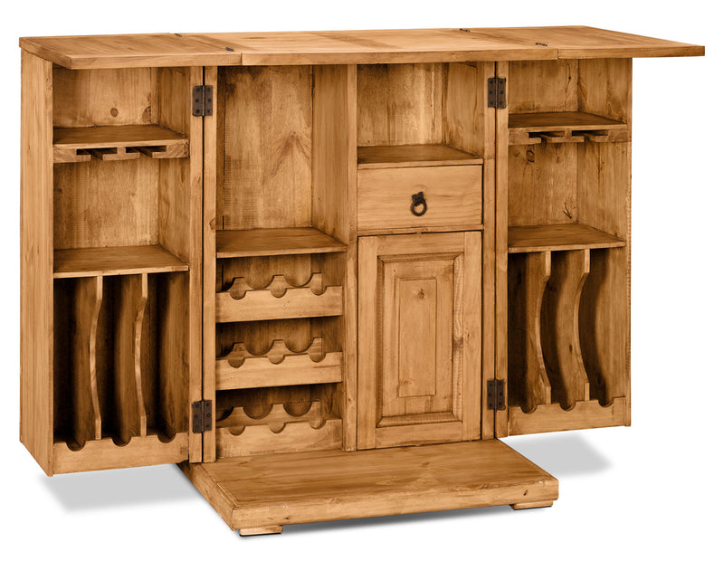 Santa Fe Rusticos Solid Pine Unfolding Bar|Meuble de bar en pin massif de Santa Fe Rusticos|BAR17