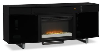 "Odesos 72"" TV Stand with Glass Ember Firebox and Soundbar – Black - Modern style TV Stand with Fireplace in Black"