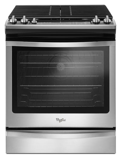 Whirlpool® 5.8 Cu. Ft. Slide-In Gas Range with EZ-2-Lift™ Hinged Grates - Gas Range in Stainless Steel/Black