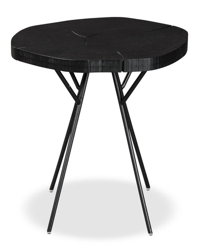 Luda Accent Table – Black - Rustic style End Table in Black Metal and Wood
