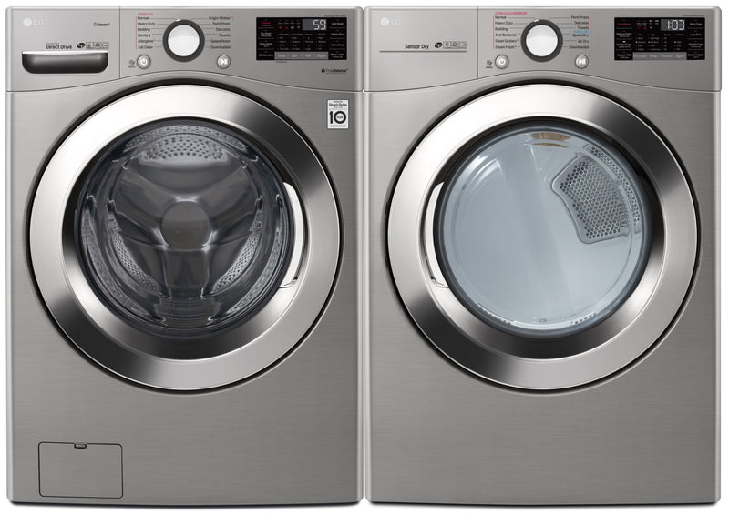 LG Wi-Fi Enabled Smart Front-Load 5.2 Cu. Ft. Washer and 7.4 Cu. Ft. Electric Dryer - Laundry Set in Grey