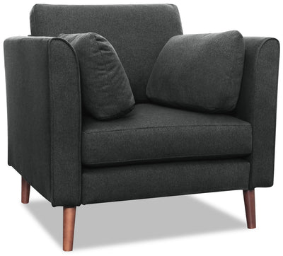 Selma Linen-Look Fabric Modular Chair - Charcoal - {Modern} style Chair in Charcoal {Plywood}, {Solid Woods}
