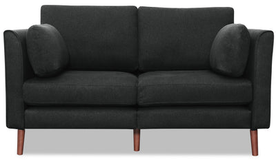 Selma Linen-Look Fabric Modular Loveseat - Charcoal - {Modern} style Loveseat in Charcoal {Plywood}, {Solid Woods}