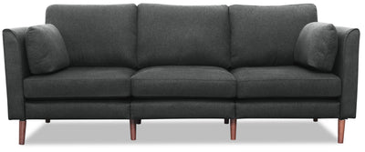 Selma Linen-Look Fabric Modular Sofa - Charcoal - {Modern} style Sofa in Charcoal {Plywood}, {Solid Woods}