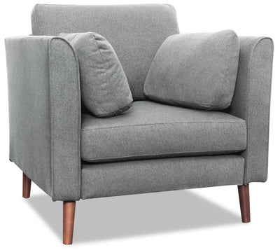 Selma Linen-Look Fabric Modular Chair - Grey - {Modern} style Chair in Grey {Plywood}, {Solid Woods}