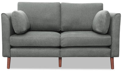 Selma Linen-Look Fabric Modular Loveseat - Grey - {Modern} style Loveseat in Grey {Plywood}, {Solid Woods}