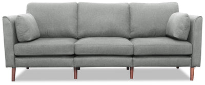 Selma Linen-Look Fabric Modular Sofa - Grey - {Modern} style Sofa in Grey {Plywood}, {Solid Woods}