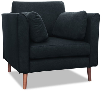 Selma Linen-Look Fabric Modular Chair - Navy - {Modern} style Chair in Navy {Plywood}, {Solid Woods}