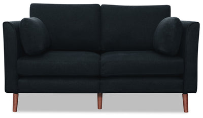 Selma Linen-Look Fabric Modular Loveseat - Navy - {Modern} style Loveseat in Navy {Plywood}, {Solid Woods}
