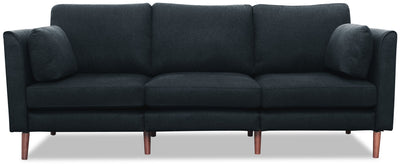 Selma Linen-Look Fabric Modular Sofa - Navy - {Modern} style Sofa in Navy {Plywood}, {Solid Woods}