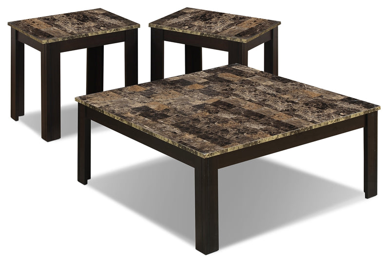 Naples 3-Piece Coffee and Two End Tables Package|Ensemble une table à café et deux tables de bout Naples 3 pièces