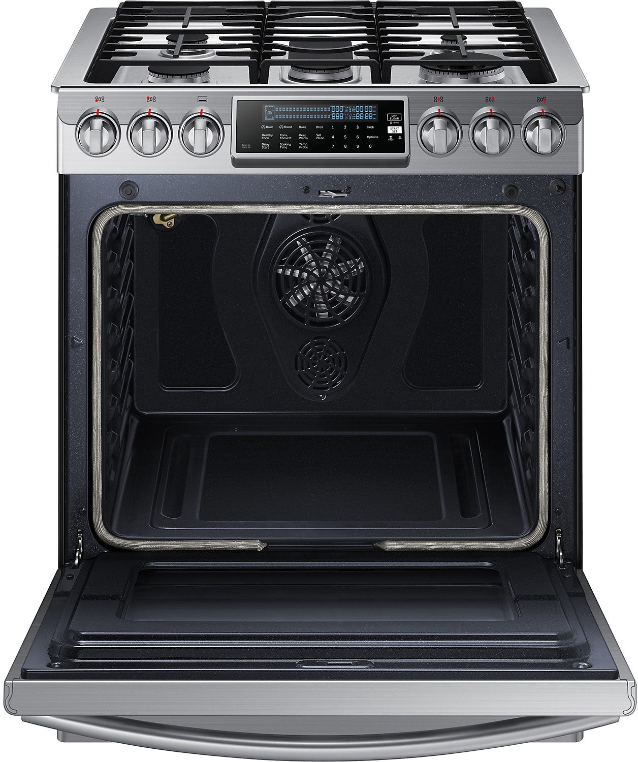 Enjoyable Samsung 5 8 Cu Ft Convection Slide In Gas Range Stainless Steel Download Free Architecture Designs Itiscsunscenecom