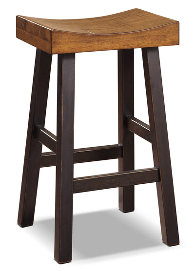 "Glosco 30"" Saddle-Seat Bar Stool - Rustic style Bar Stool in Two-Toned Hardwood Solids and Veneers"