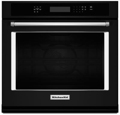 KitchenAid 5.0 Cu. Ft. Single Wall Oven with Even-Heat™ True Convection - Black - Electric Wall Oven in Black