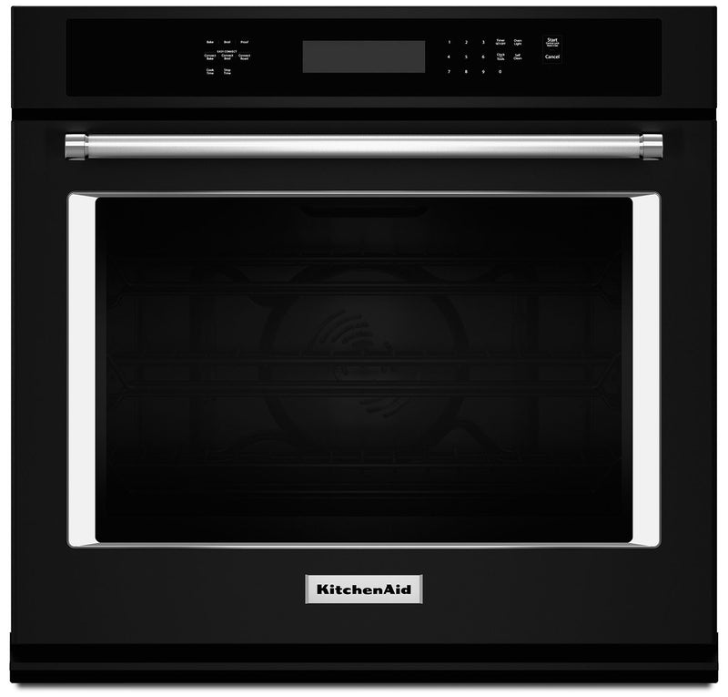 KitchenAid 5.0 Cu. Ft. Single Wall Oven with Even-Heat™ True Convection - Black|Four mural simple KitchenAid de 5,0 pi³ à convection véritable Even-Heat(MC) - blanc