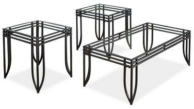Exeter 3-Piece Coffee and Two End Tables Package - Contemporary style Occasional Table Package in Black Glass/Metal
