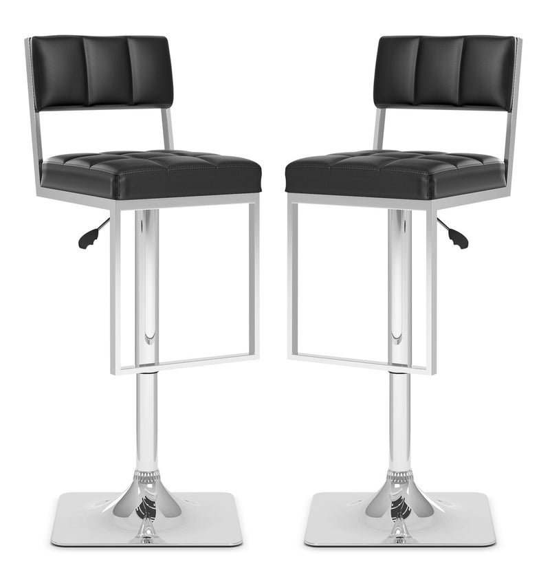 CorLiving Square-Tufted Wide Adjustable Bar Stool, Set of 2 – Black|Tabouret bar large et réglable CorLiving à capitonnage carré, ensemble de 2 - noir