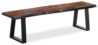 Bowery Dining Bench - Industrial style Dining Bench in Rustic Brown Metal and Wood