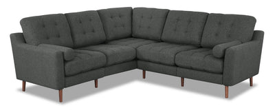 Stef 6-Piece Linen-Look Fabric Modular Sectional - Charcoal - Modern style Sectional in Charcoal Plywood, Solid Woods