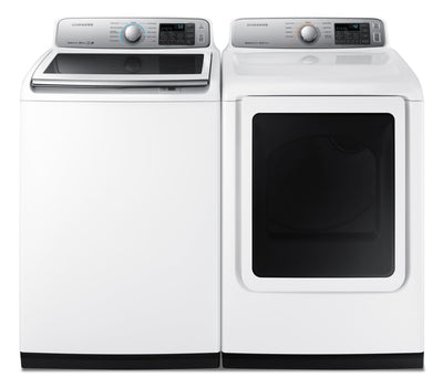 Samsung 5.8 Cu. Ft. Top-Load Washer and 7.4 Cu. Ft. Electric Dryer - White - Laundry Set in White